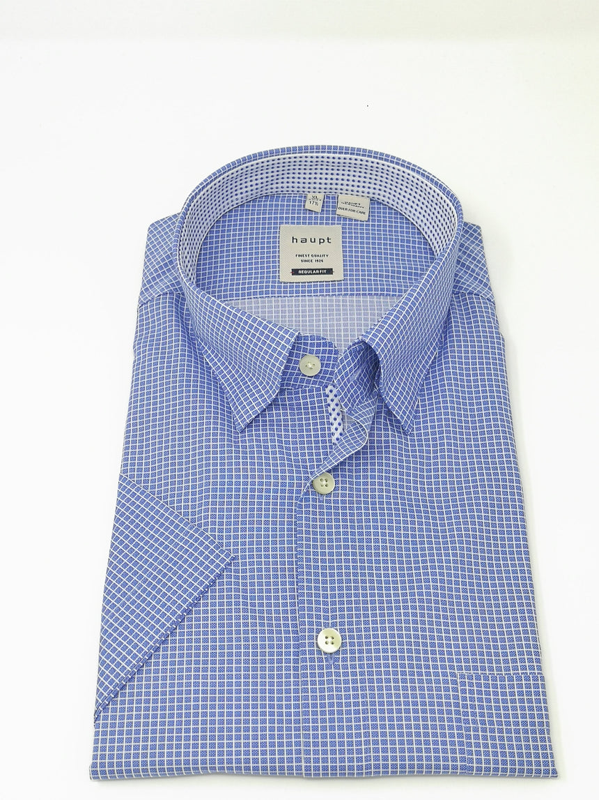 Haupt Short Sleeve Sport Shirt - Mini Check