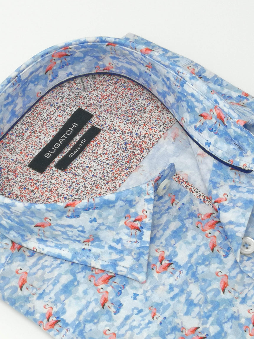 Bugatchi Short Sleeve Sport Shirt - Flamingo Print