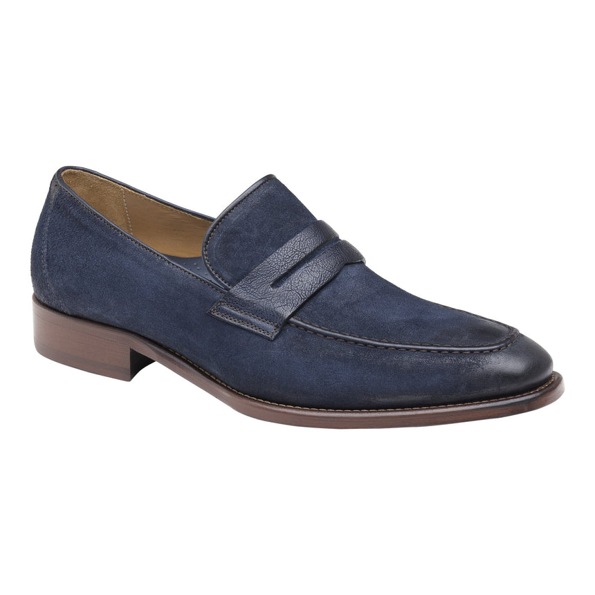 J&M Cormac Penny Loafer - Navy Suede