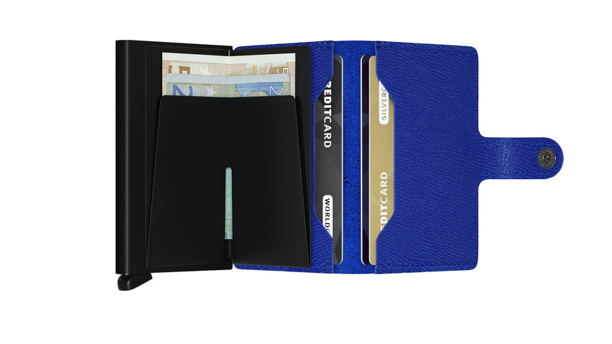 Secrid Mini Wallet Crisple Blue - Black Cardslide