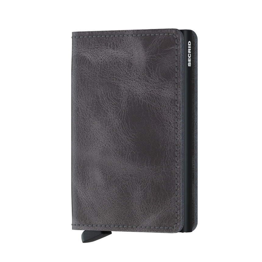 Secrid Slim Wallet Vintage Grey - Black Cardslide