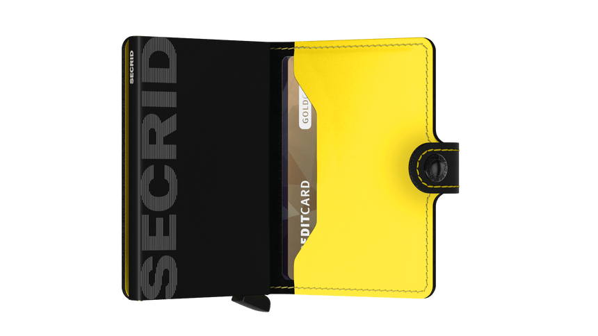 Secrid Mini Wallet Matte Black - Yellow Cardslide