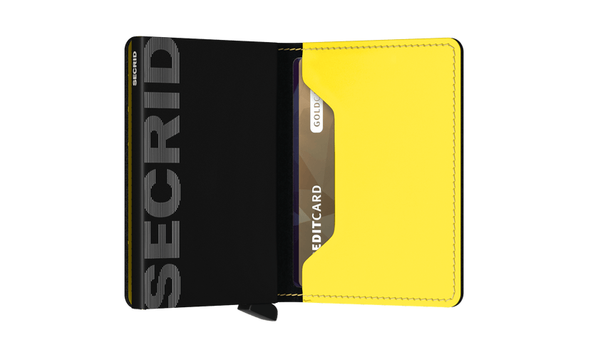 Secrid Slim Wallet Matte Black - Yellow Cardslide