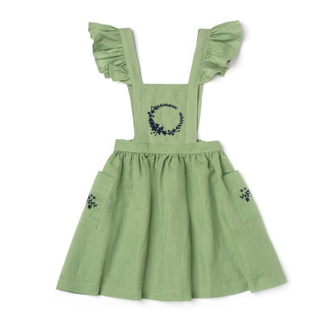 Lali Kids - Aurora Pinafore - Sage Embroidery