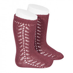 Condor - Burgundy Open Work Knee Socks