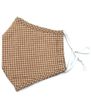 Adult Facemask - Caramel Grid
