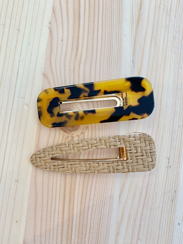 Set of 2 Hair Clips - Tortoise Shell/Natural Tan