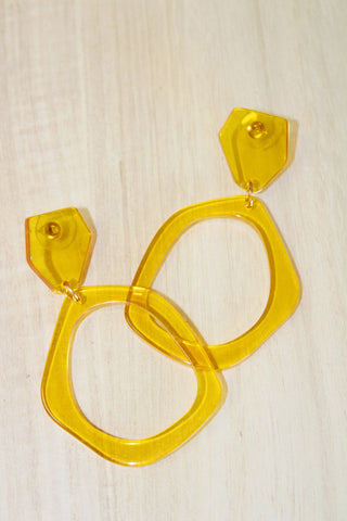Lucite Circle Hoops - Mustard