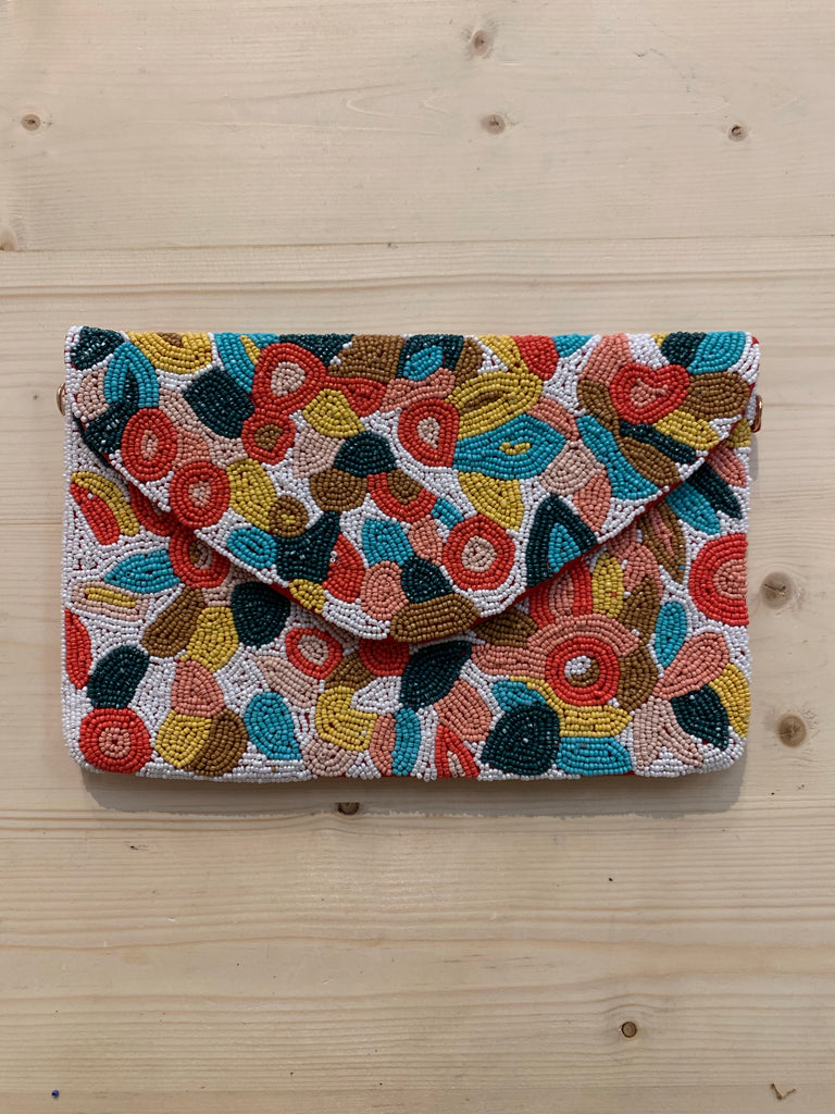 Hand Beaded Floral Clutch Purse - Turquoise, Peach, and Coral