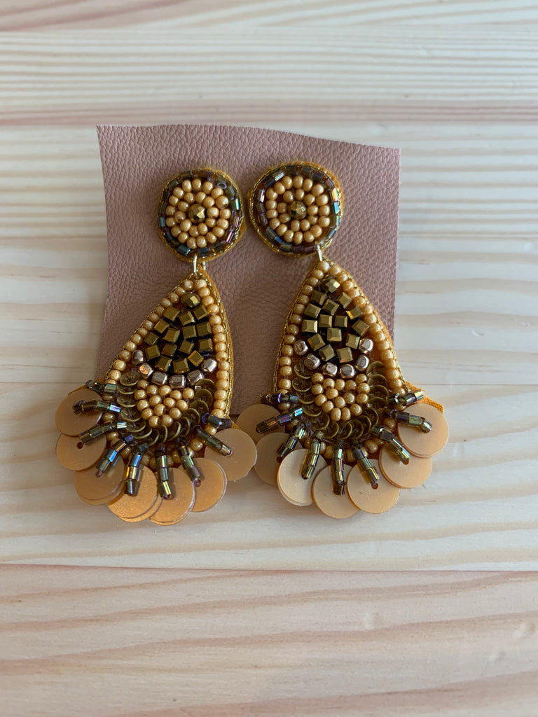 Vintage Beaded Drop Earrings - Mustard