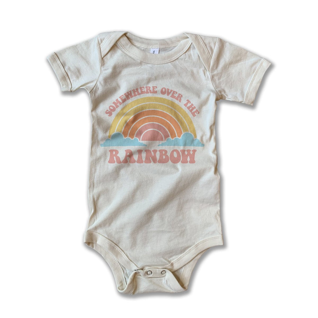 Rivet Apparel Co - Graphic Tee Onesie -  Somewhere Over the Rainbow