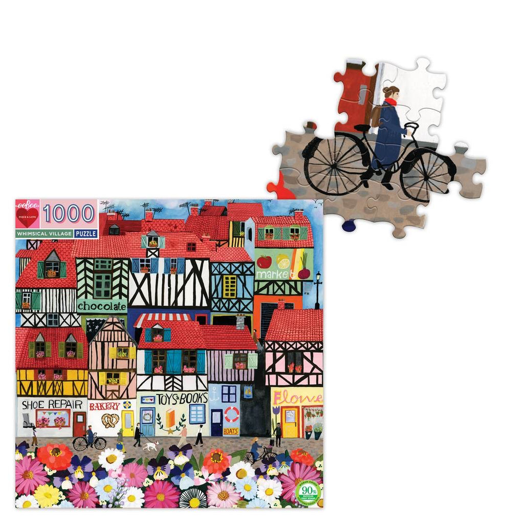 eeBoo - Whimsical Village Puzzle - 1000 Piece