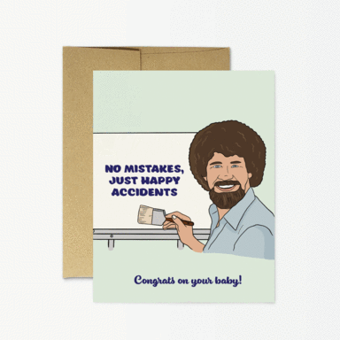 Party Mountain Paper Co. - Bob Ross Baby Card
