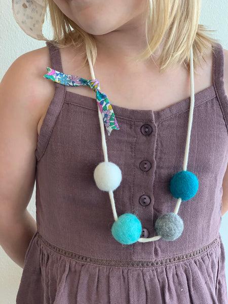 Handmade Felted Ball Necklace - Teal