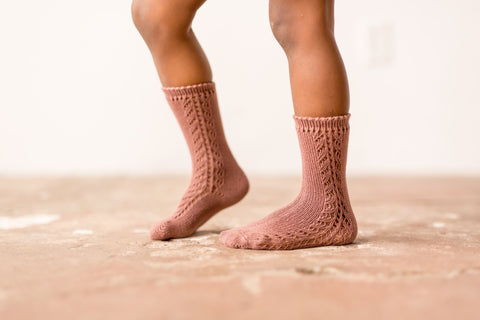 Condor - Terra Cotta Open Work Knee Socks