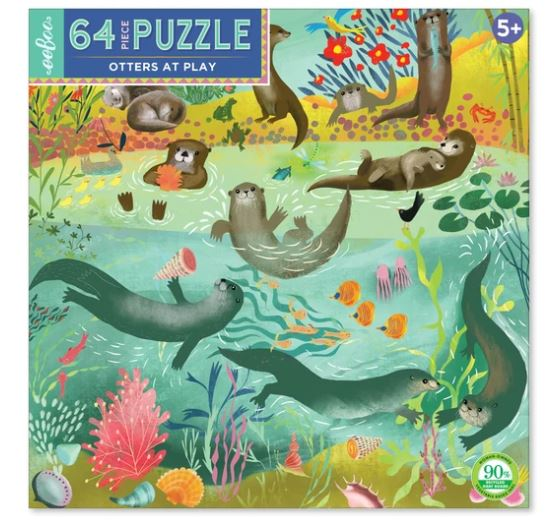 eeBoo - Otters at Play Puzzle - 64 Piece