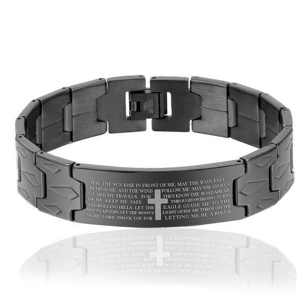 Biker's Prayer Stainless Steel Chain Bracelet
