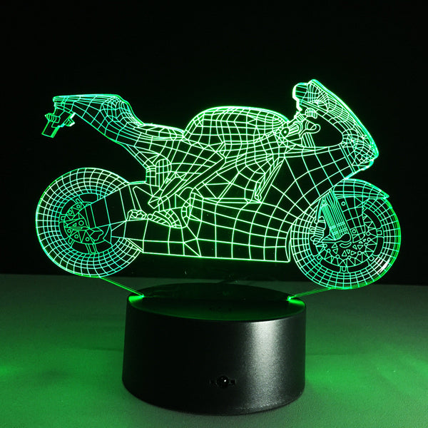 Motorcycle Holographic 3D LED Lamp