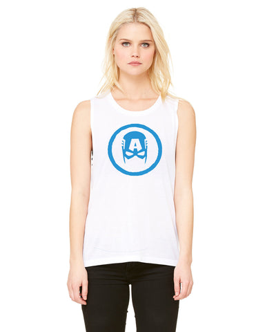 Captain America Circle - Womens Muscle Tank