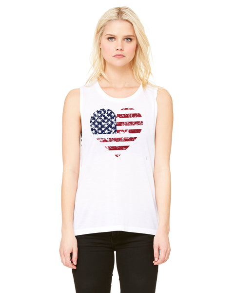 Flag Heart - Womens Muscle Tank