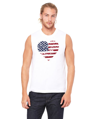 Flag Heart - Mens Muscle Tank