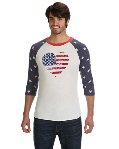Flag Heart - Baseball tee