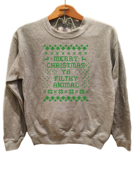 Merry Christmas Ya filthy animal Design 2- Ugly Christmas Sweater Green