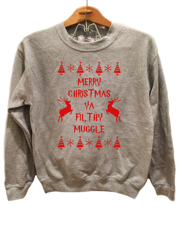 Merry Christmas Ya Filthy Muggle Sweatshirt - Red print