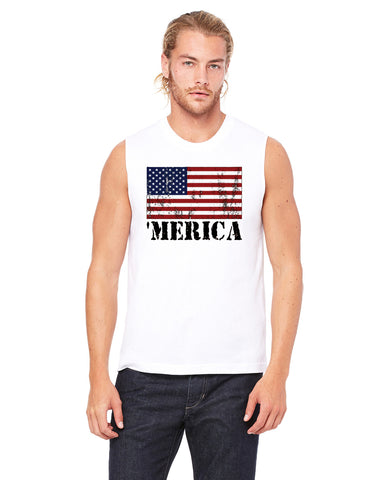 Merica Distressed - Mens Muscle Tank