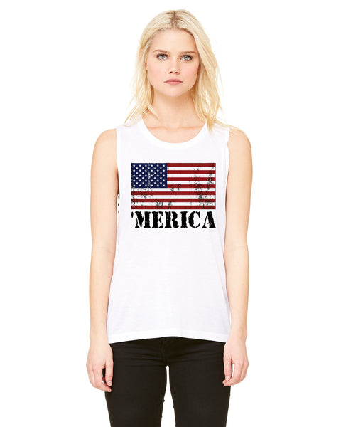 Merica Distressed - Womens Muscle