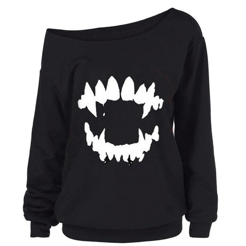 Vampire Teeth - Off the shoulder slouchy top
