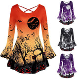 Womens Halloween Flare Sleeve Dress