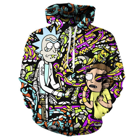 Fully hoodie print Rick and Morty