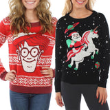 Funny Ugly Christmas Sweater - Waldo - Santa Riding Unicorn