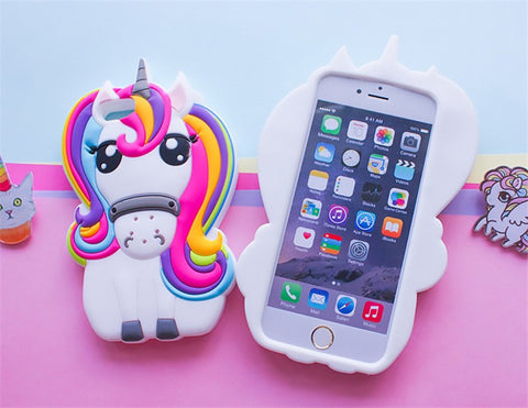 3D Rainbow Unicorn Silicone Phone Case