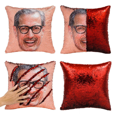 Sequin Jeff Goldblum Face Pillow Cover