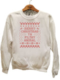Merry Christmas Ya filthy animal Design 2- Ugly Christmas Sweater Red
