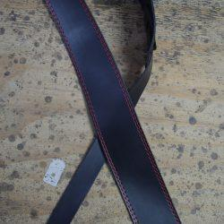 Colonial Leather 2.5 inch Black Leather Strap with Red Stitching