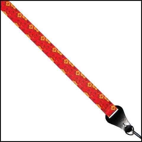 Colonial Leather Webbing Ukulele Strap - Hibiscus Red