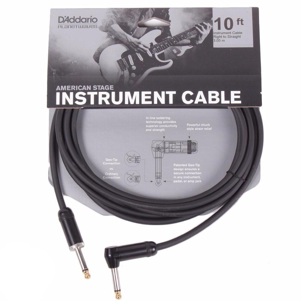 D'Addario 10 foot American Stage Instrument Cable w/Right Angle