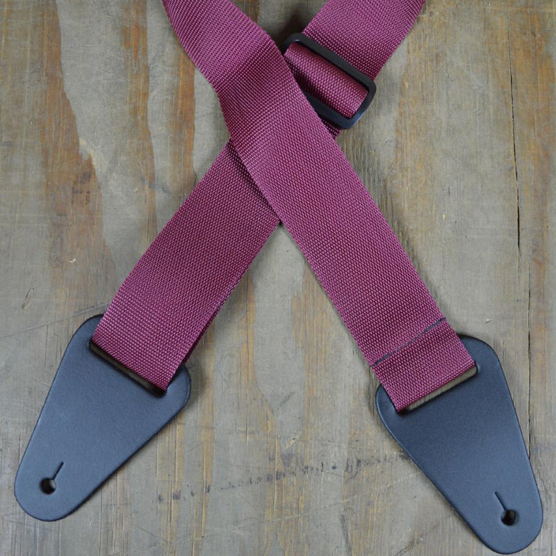 Colonial Leather Nylon Strap with Heavy Duty Leather Ends - Burgundy