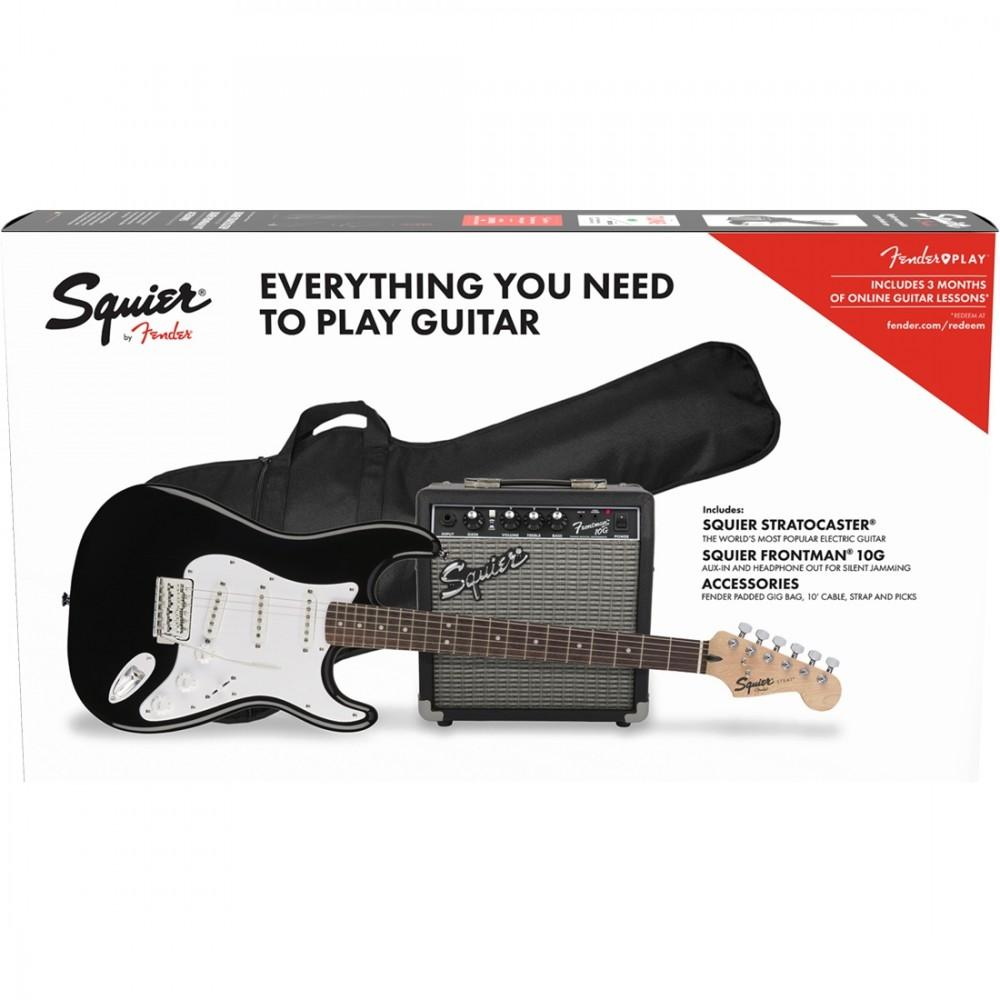 Squier Stratocaster Electric Guitar Pack w/Frontman 10g Amp - Black