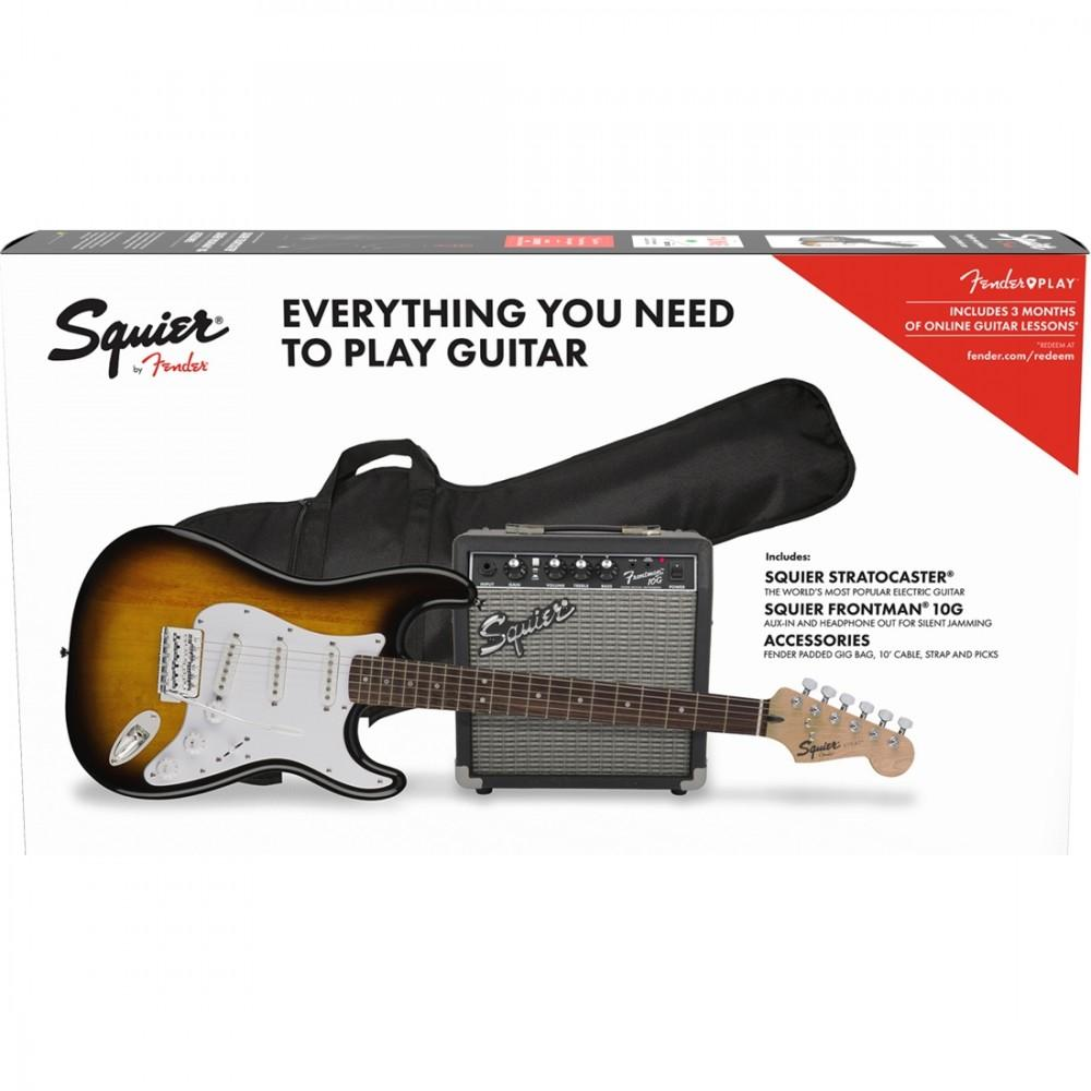 Squier Stratocaster Electric Guitar Pack w/Frontman 10g Amp