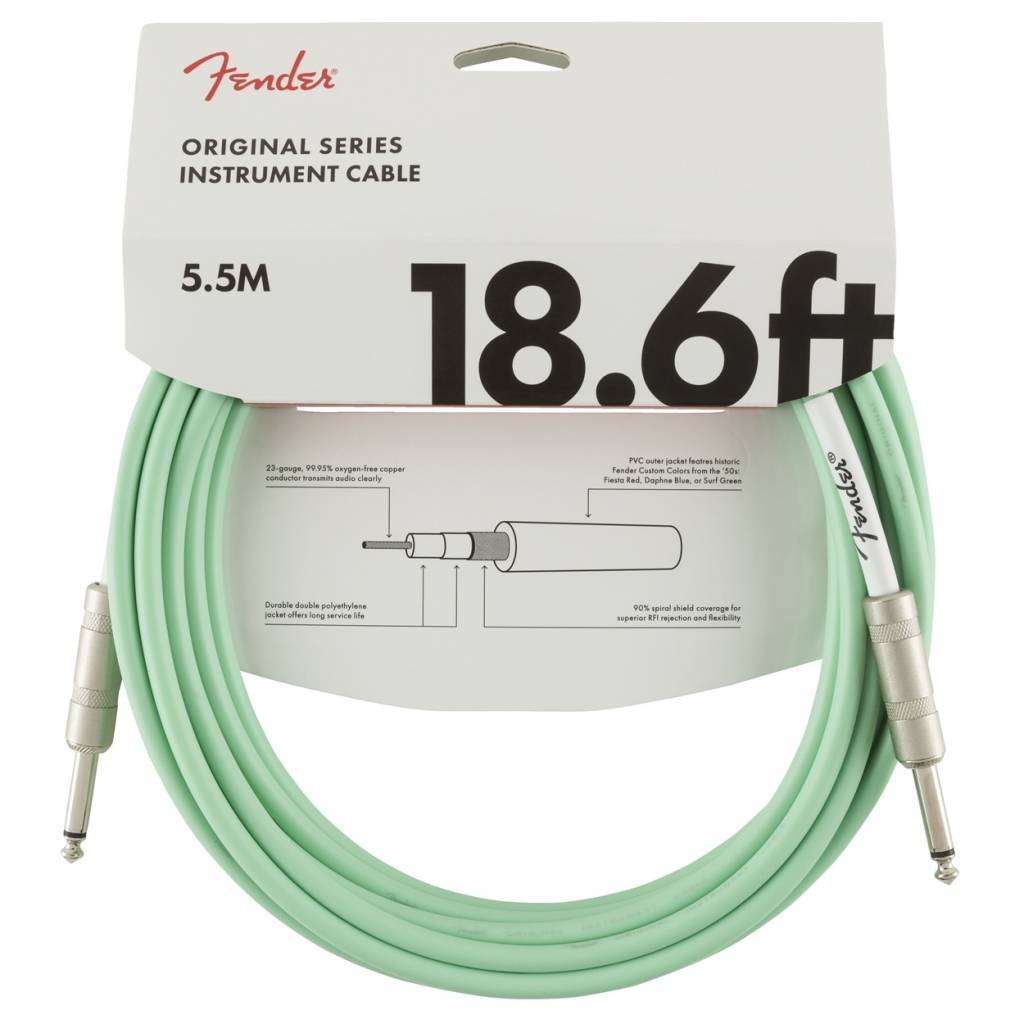 Fender Original Series 18.6ft Instrument Cable Surf Green