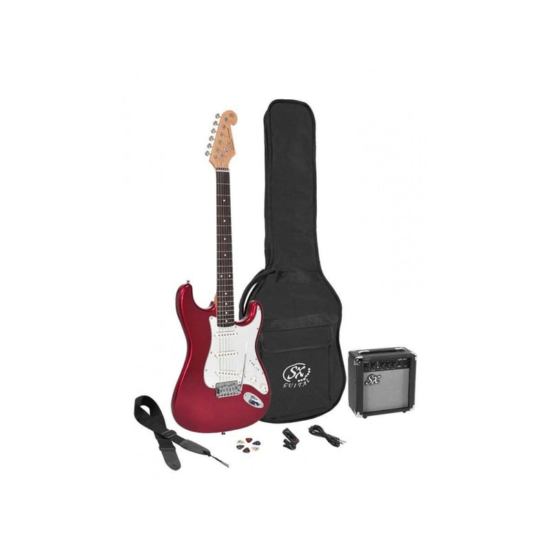 Essex SE1SK Stratocaster Style Electric Guitar Pack - Candy Apple Red