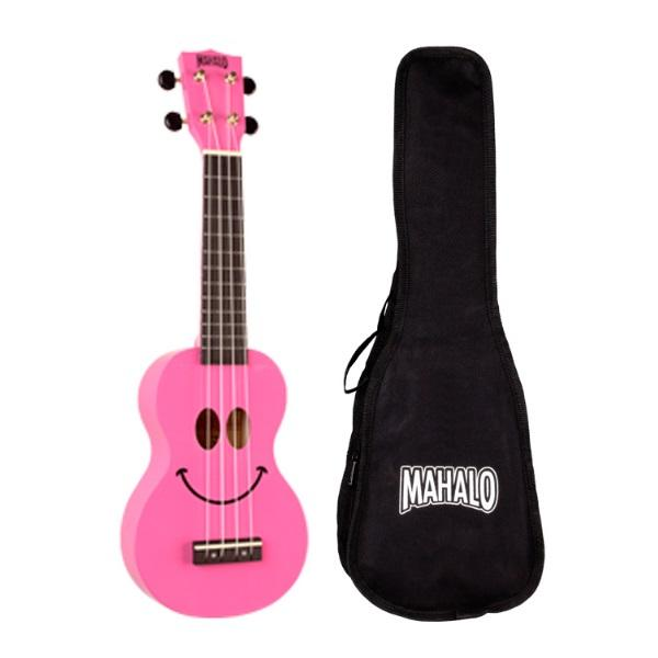 Mahalo U60SM Smiley Face Ukulele - Pink