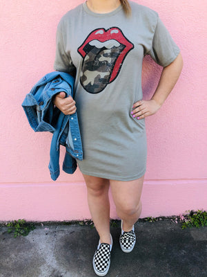 Camo Tongue T-Shirt dress