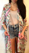 Tribal Kimono bathing suit coverup kaftan long wrap shawl bikini accessories oversized gift ideas lightweight onesize multicolored