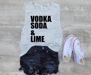 vodka soda lime, vodka soda lime tee, custom tank, Graphic tank, women tank, cute tank, gift for her, gift ideas, personalized