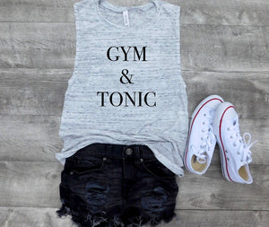 gym and tonic tank, custom tank, Graphic tank, women tank, cute tank, tank quote, fashion, gift for her, gift ideas, personalized